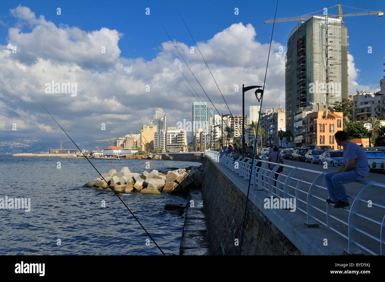 Corniche de Beyrouth, Beyrouth, Liban, Moyen-Orient, Asie de l'Ouest Photo Stock