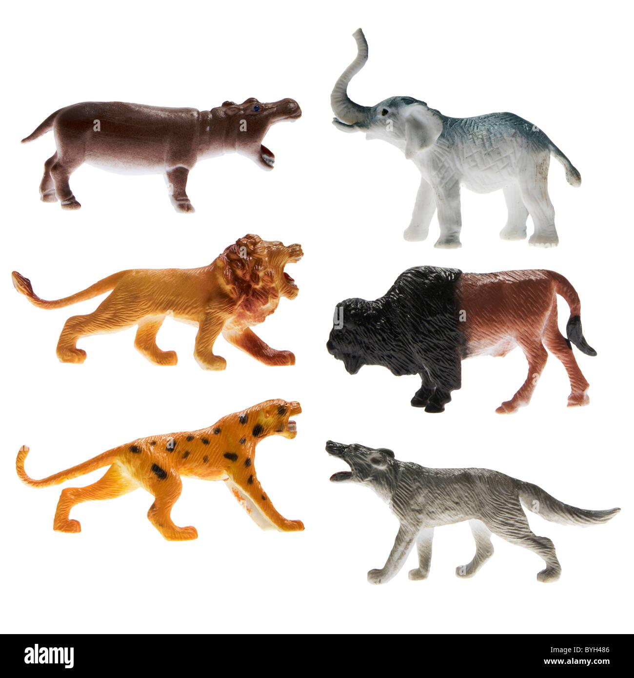 Animaux En Plastique Jouet jouet en plastique animaux sauvages sur fond blanc banque d