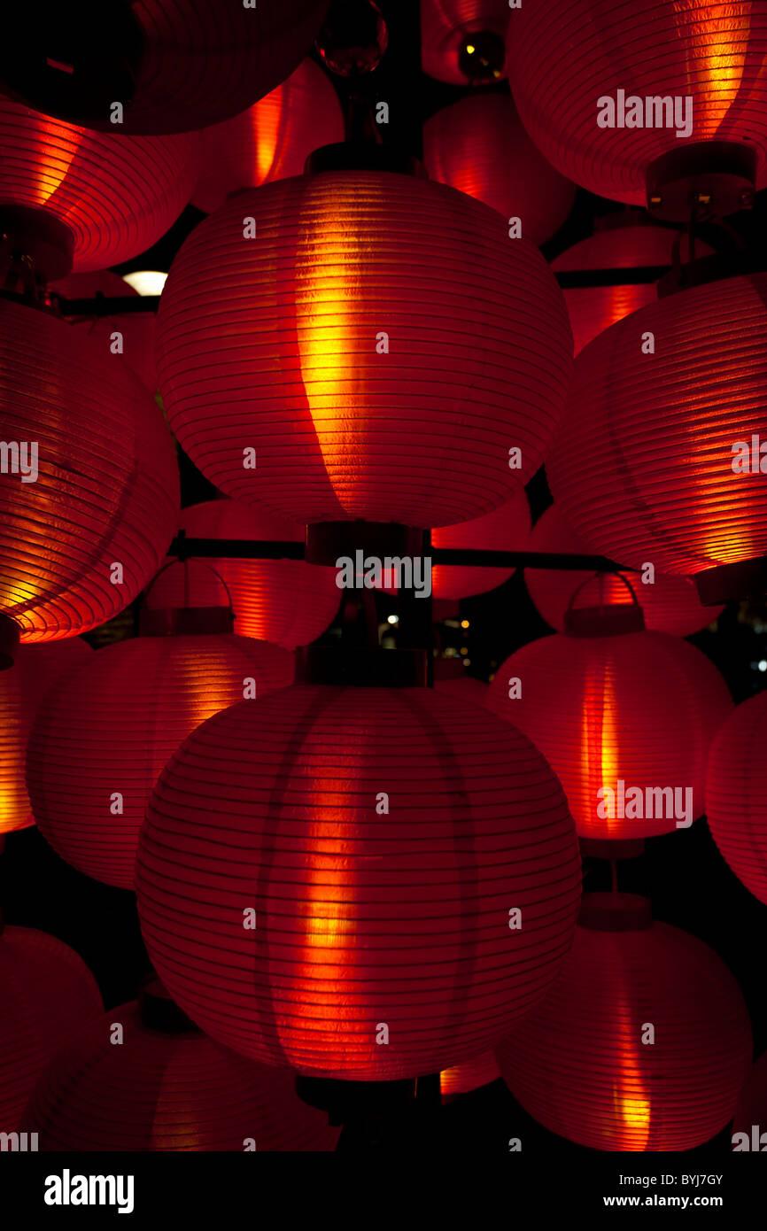 Papier De Riz Décoration papier de riz de couleur rouge des lanternes chinoises utilisées