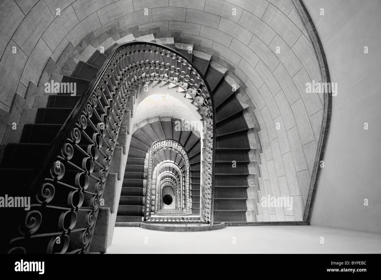 Point de vue de l'escalier, Marriott Grand Flora Hotel, Rome, Italie Photo Stock