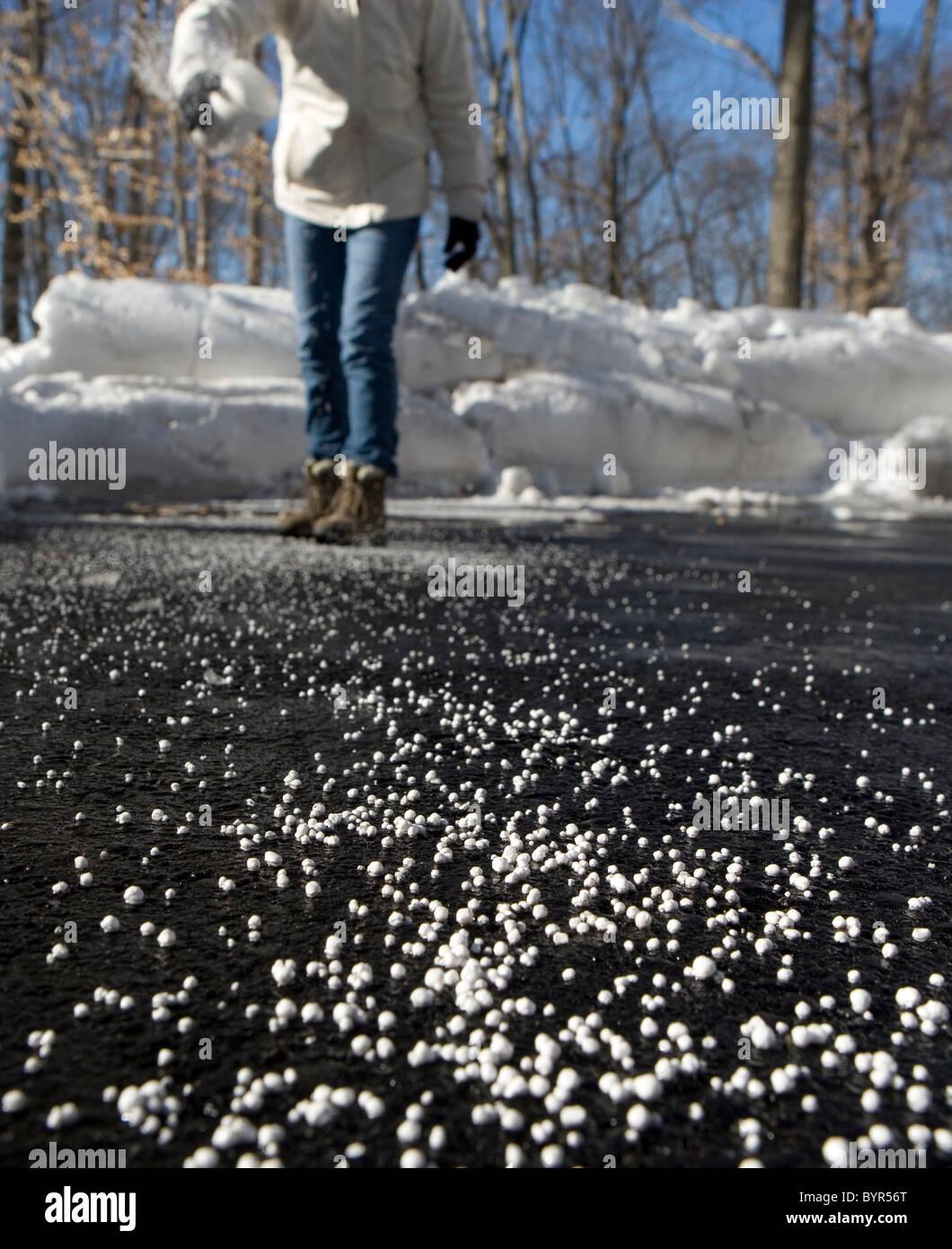 Une femme de jeter du sel sur une voie pour faire fondre la glace et la neige Banque D'Images