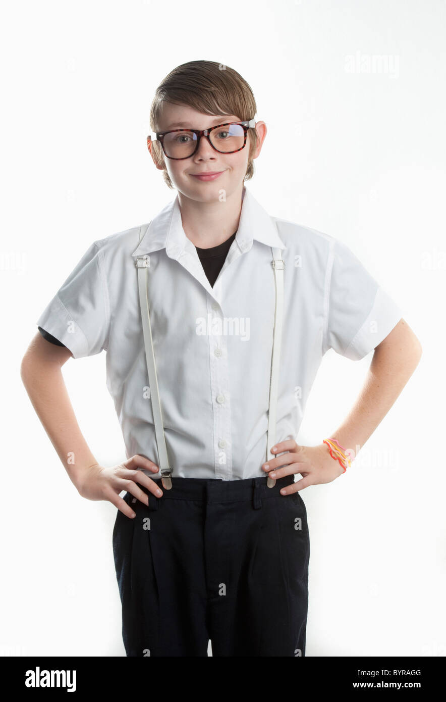 Dans les verres nerdy kid Photo Stock