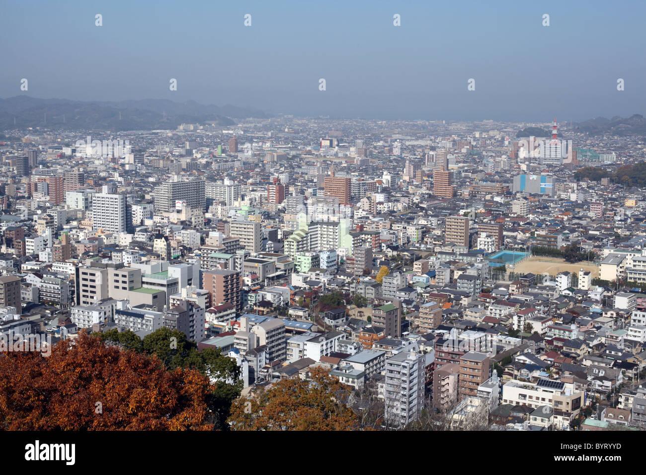Vue de la ville de Matsuyama, Shikoku, au Japon. Photo Stock
