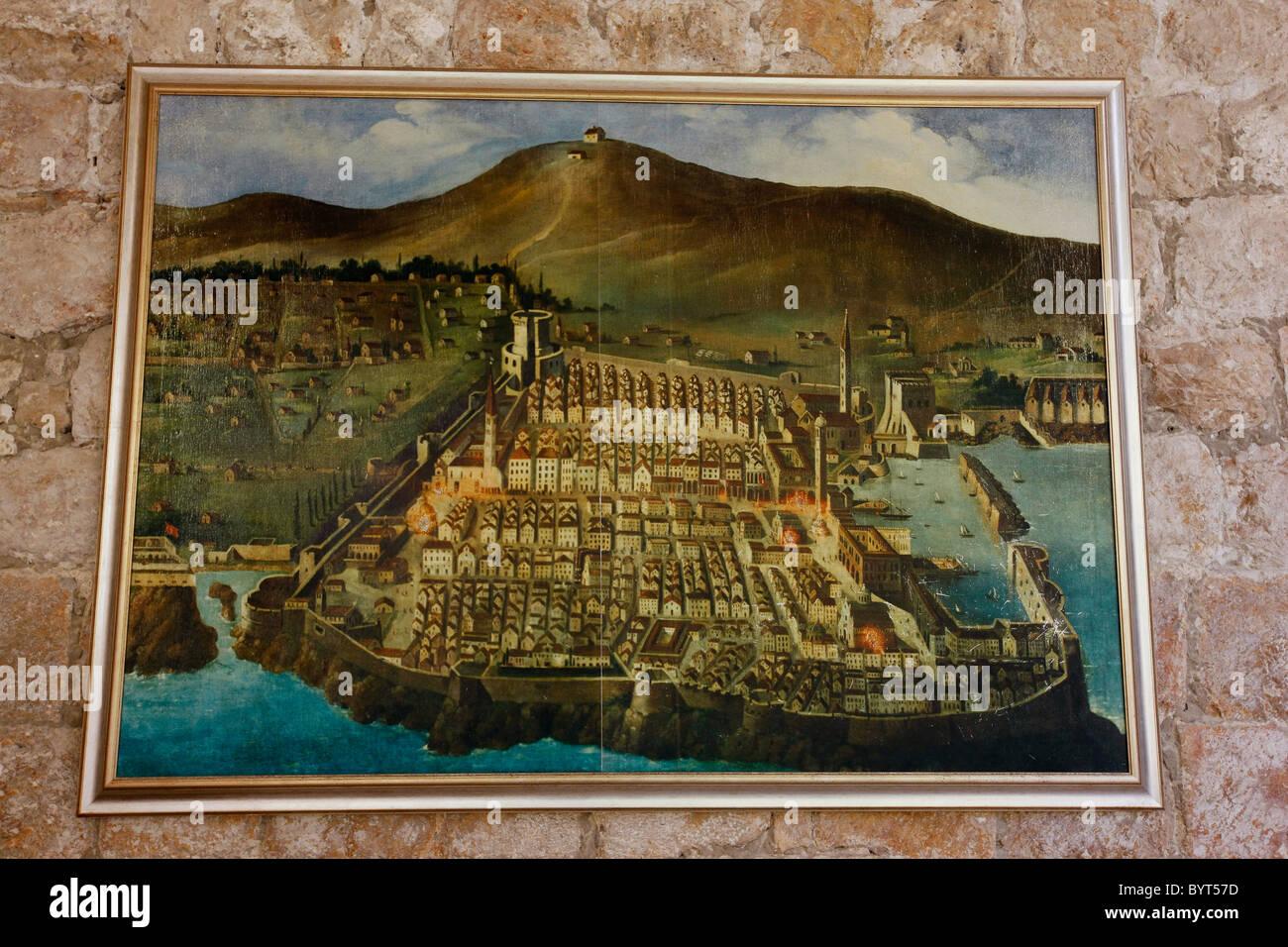 Carte Ancienne Croatie.Carte Ancienne De Dubrovnik Croatie Banque D Images Photo