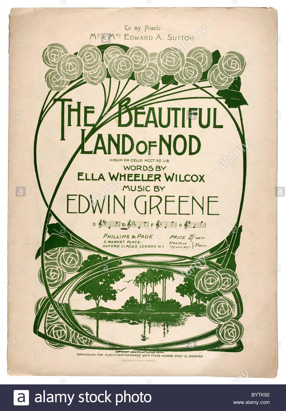 La musique ancienne feuille de couverture de 1904 intitulé 'La belle terre de Nod' violon ou violoncelle Photo Stock