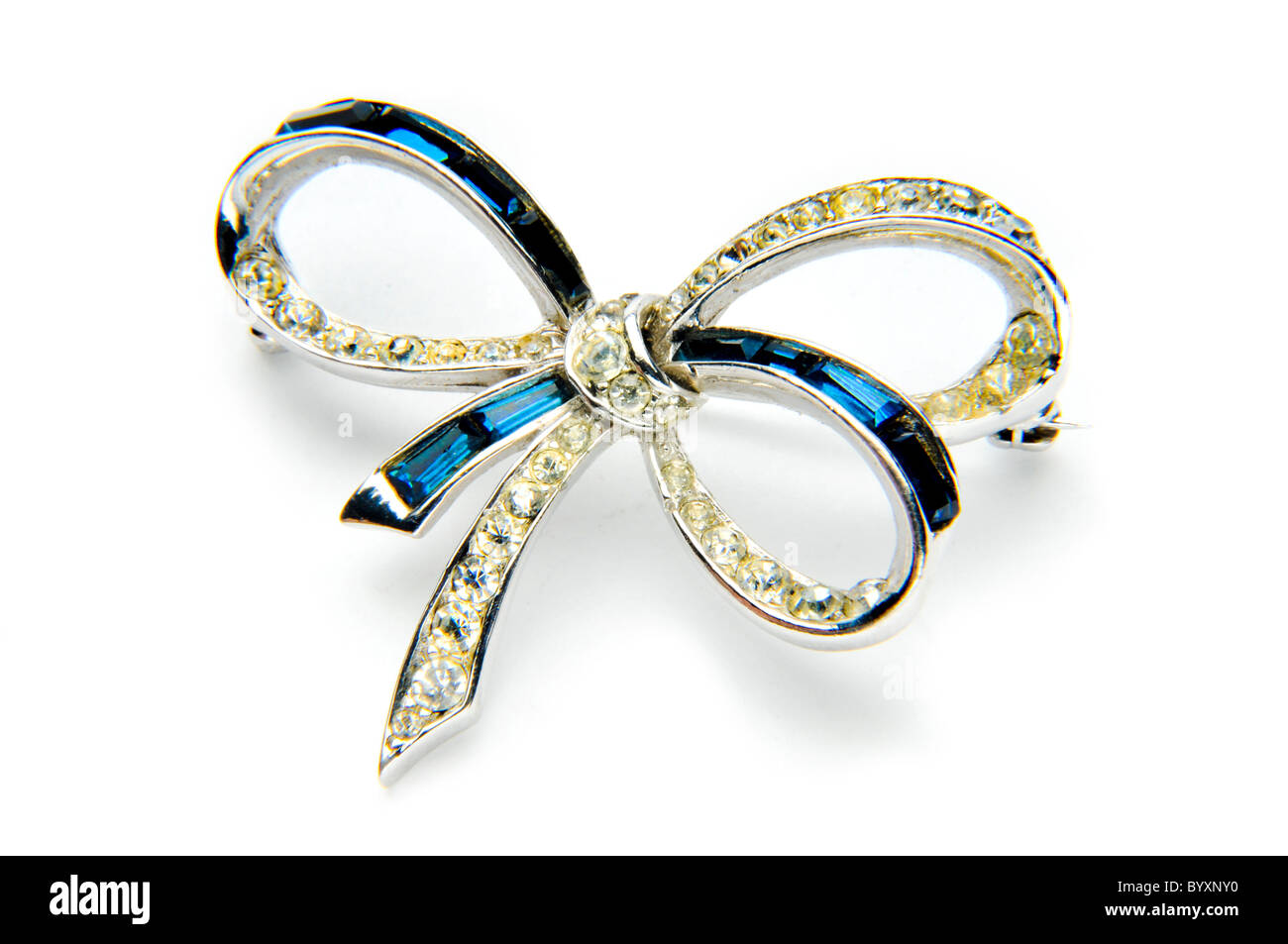 Le bleu et argent diamant bijoux bow Photo Stock