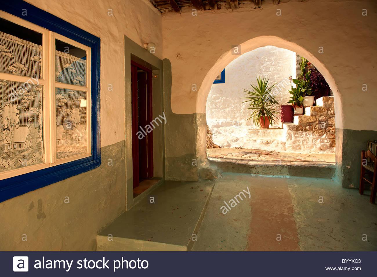 Rues étroites et maisons d'Hydra, Grec Iles Saroniques Photo Stock