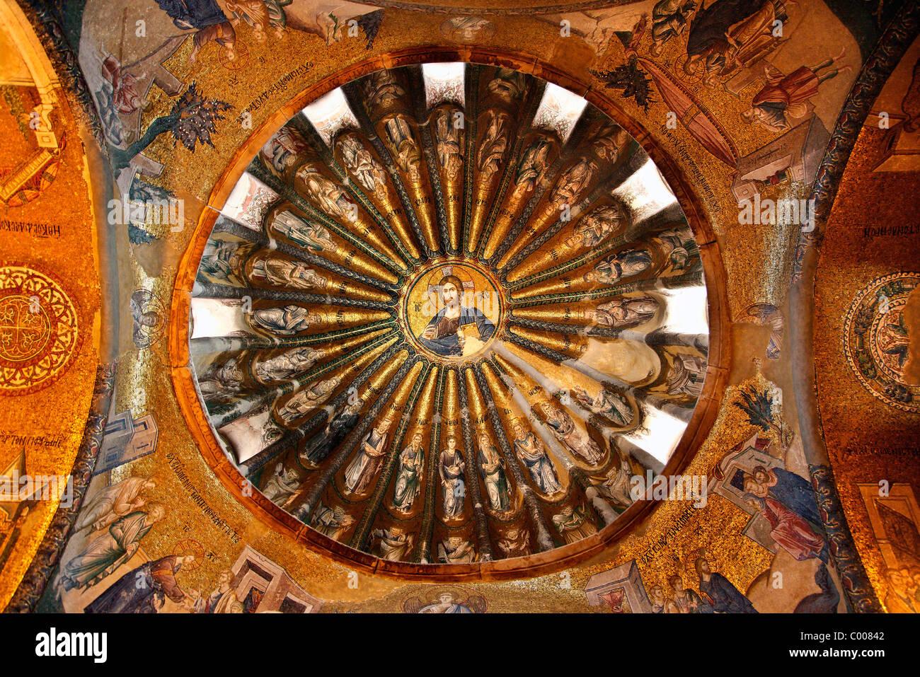 L'un des dômes à Chora Church, avec une belle mosaïque de Jésus Christ ('Pantokrator'), Photo Stock