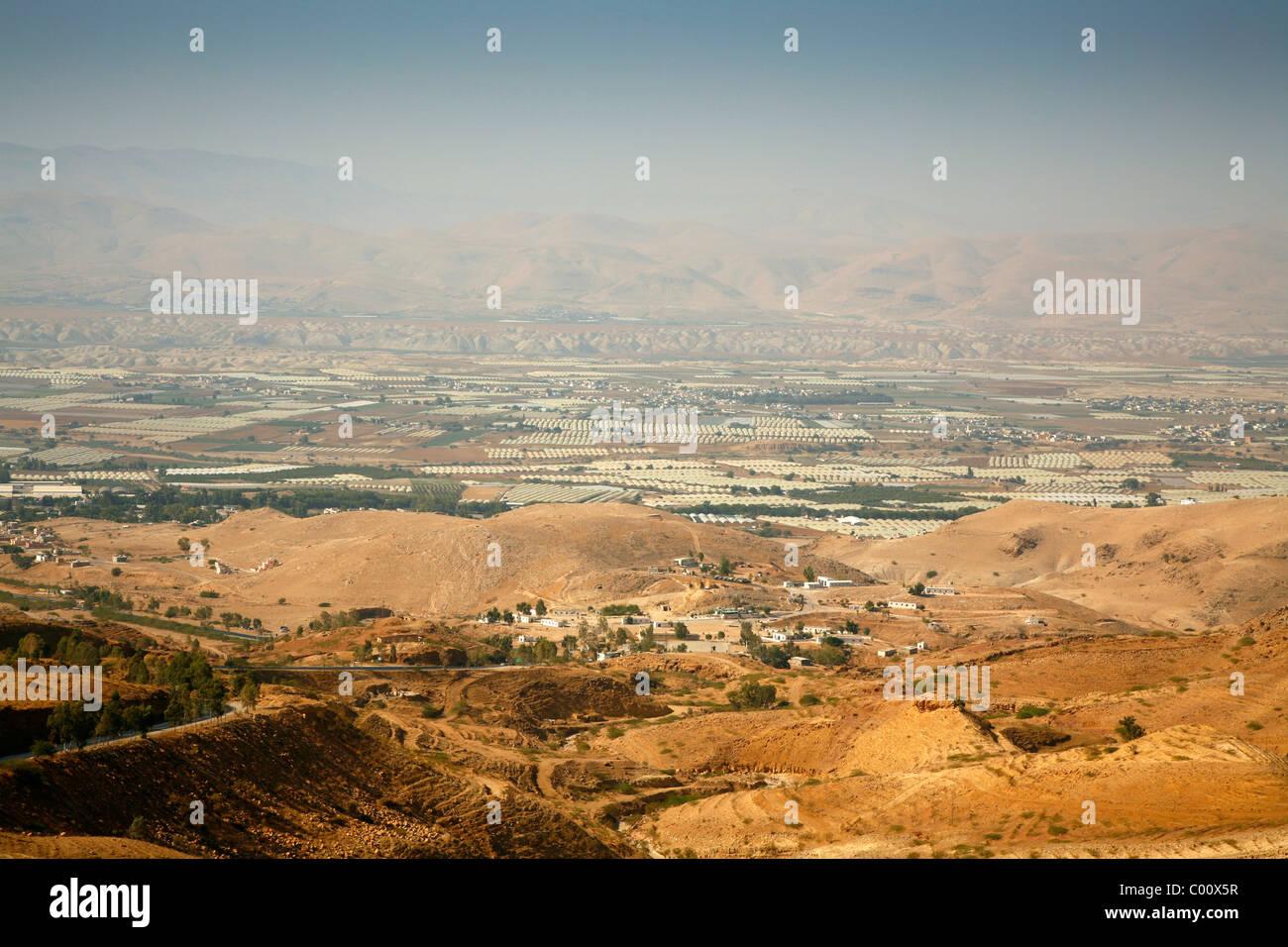 Vue sur la vallée du Jourdain, en Jordanie. Photo Stock