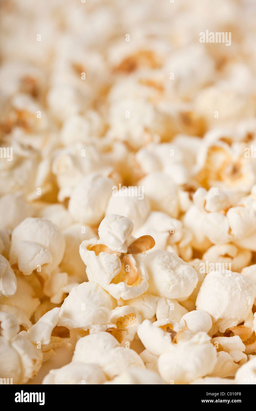 Close-up of fresh popcorn - selective focus Photo Stock