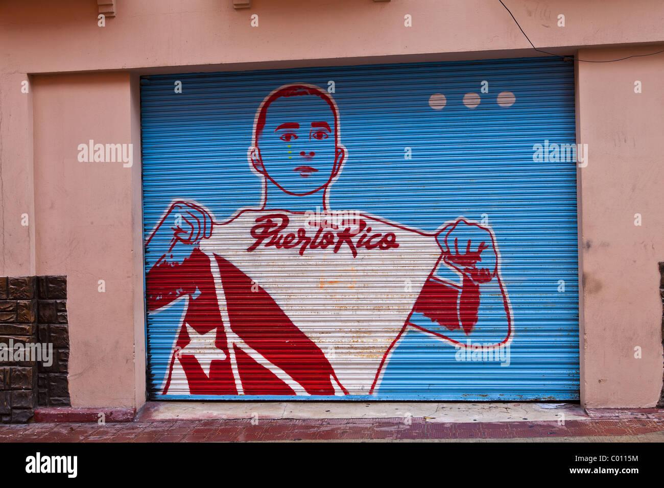 Pro-indépendance de la peinture sur un mur dans le Vieux San Juan, Puerto Rico Photo Stock