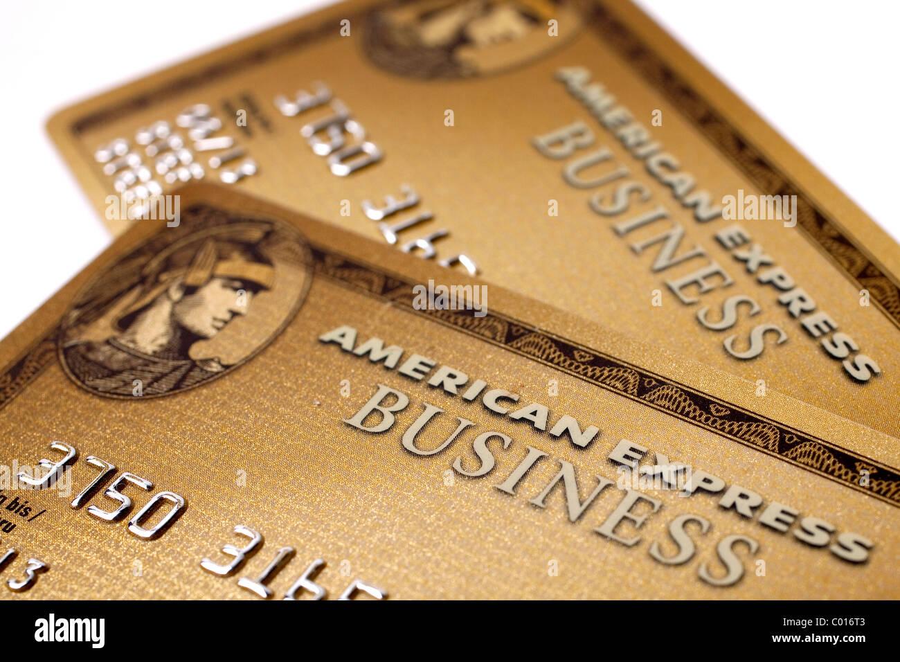Les cartes de crédit, American Express, AMEX, Gold Business Card Photo Stock