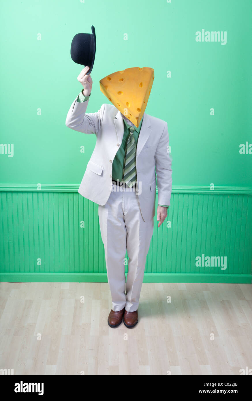 Man in suit portant la tipping hat Photo Stock