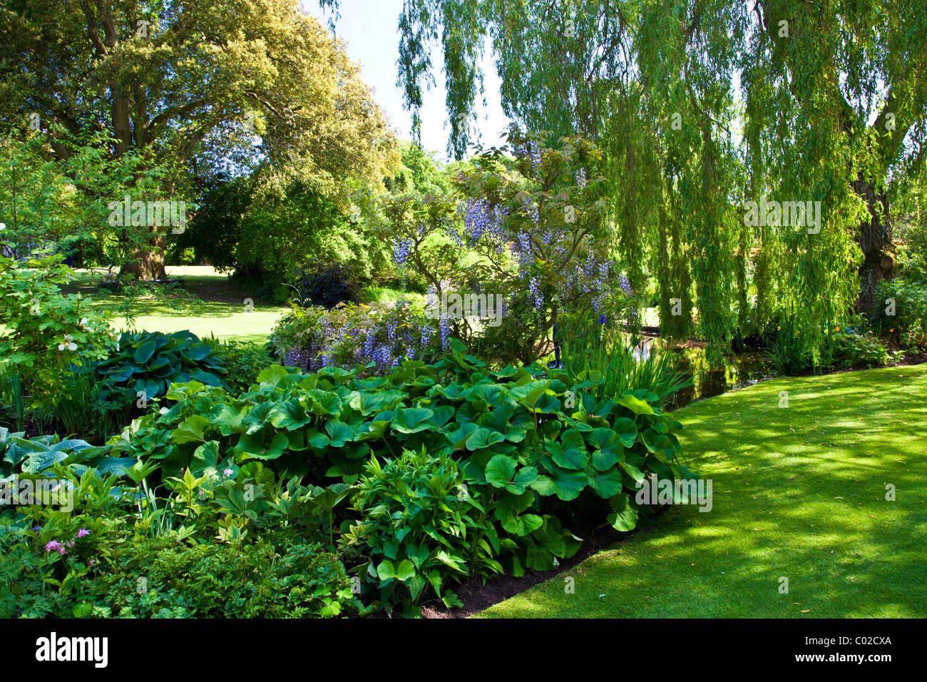 Banque du bassin de jardin d\'ornement dans un jardin de ...