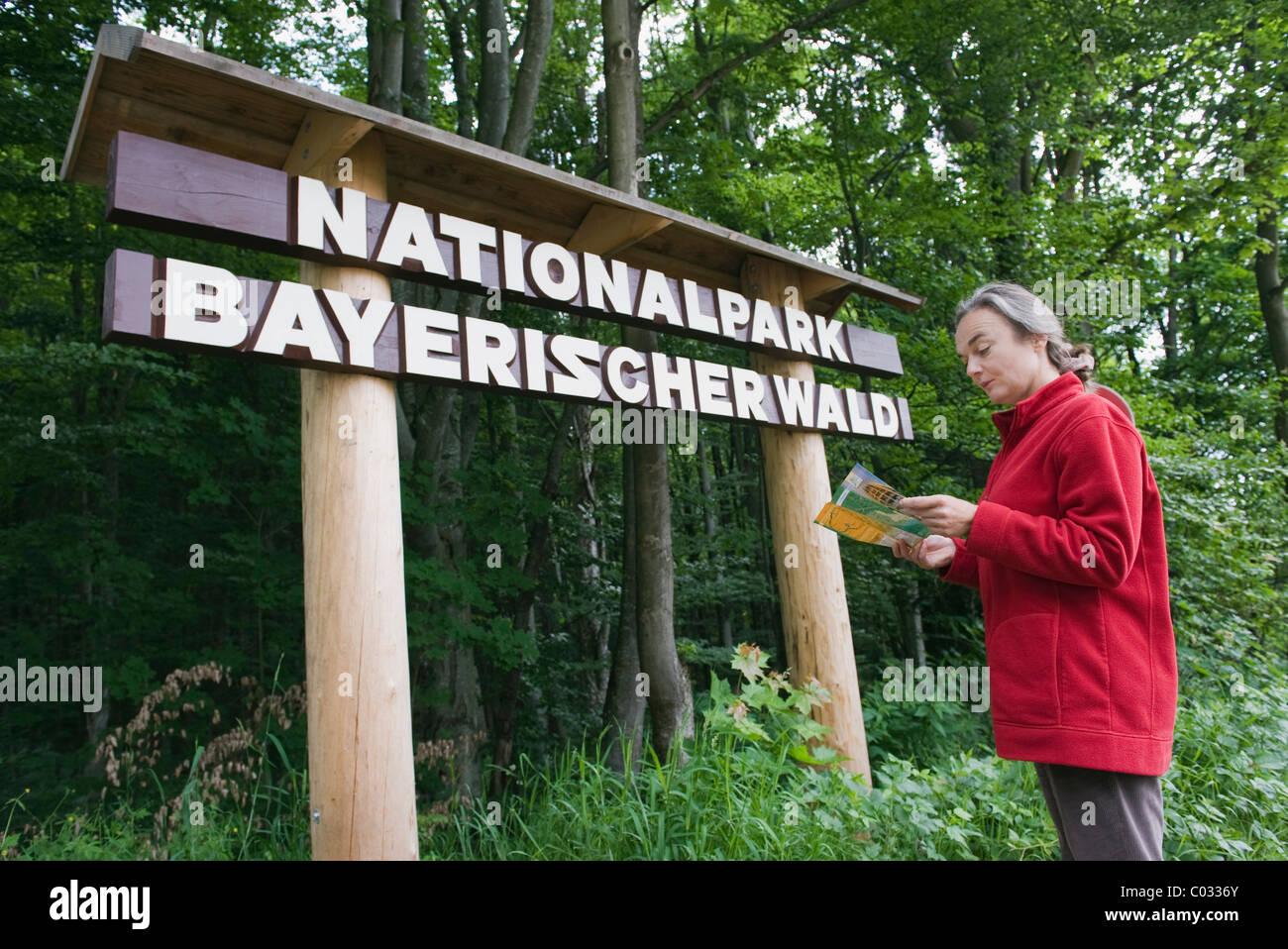 """Femme lisant brochure en avant du panneau """"Nationalpark Bayerischer Wald', l'allemand pour le Parc Photo Stock"""