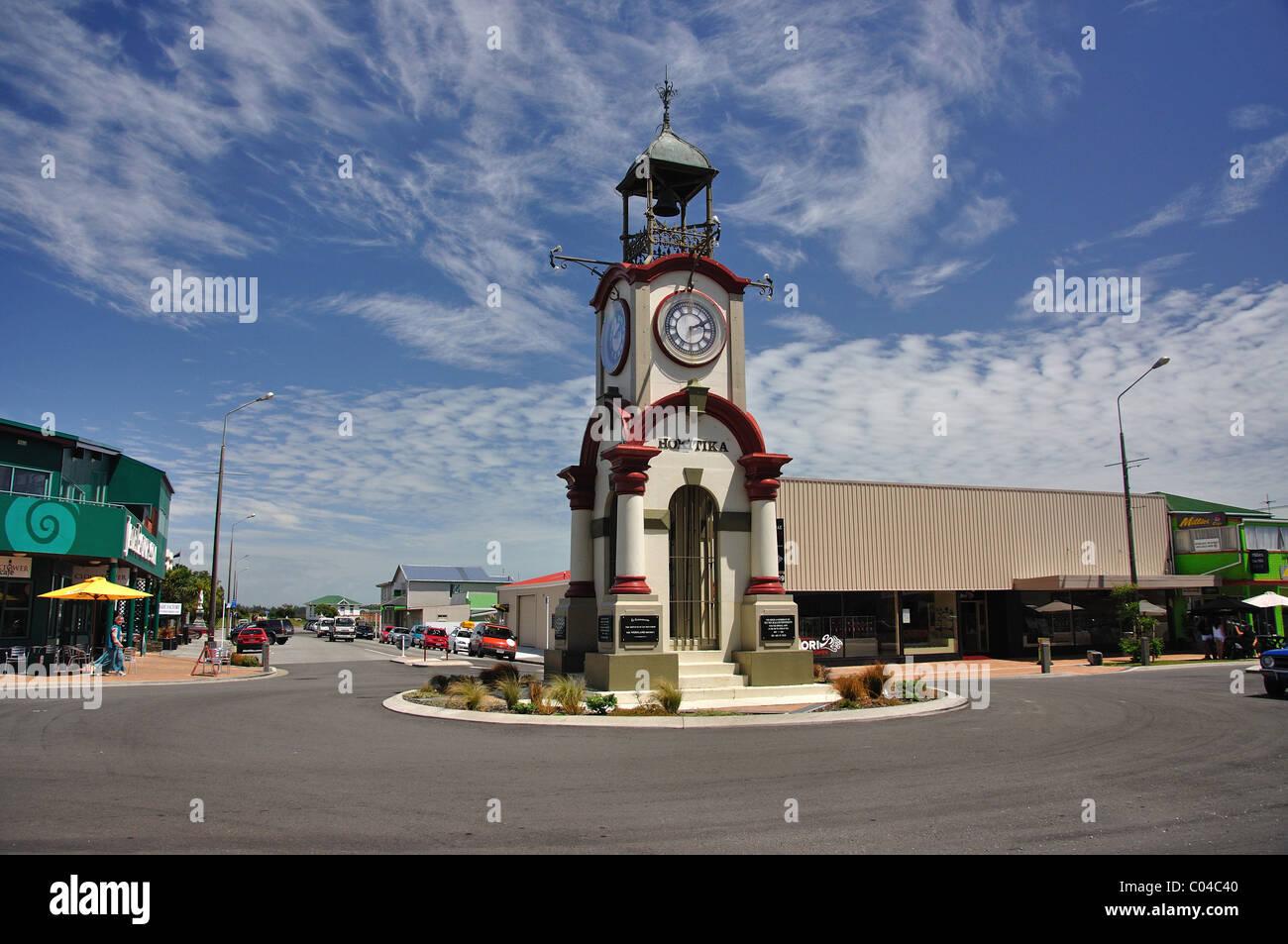 Hokitika Memorial Clocktower, Weld Street, Hokitika, Westland District, Région de la côte ouest, île du Sud, Nouvelle-Zélande Banque D'Images