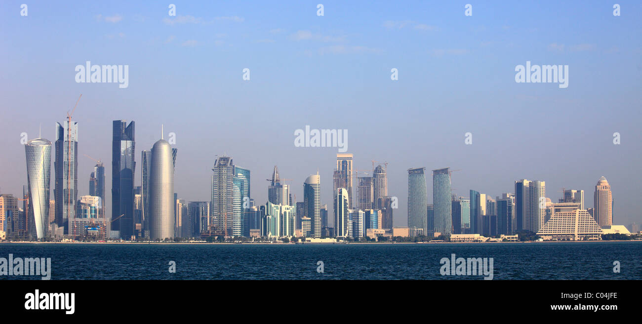 Qatar, Doha, Skyline, des gratte-ciel, vue générale, Photo Stock