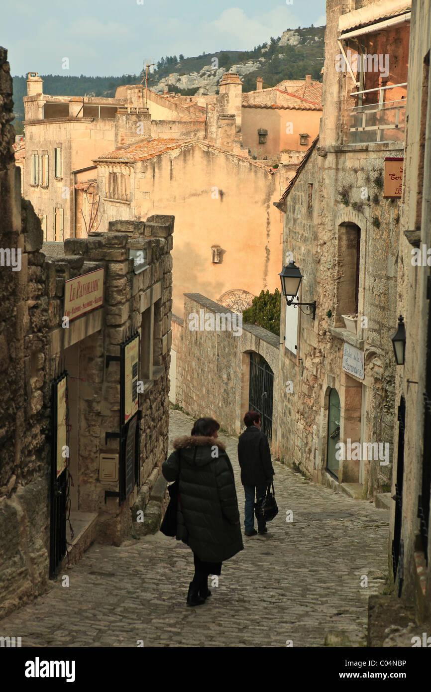 Les Baux de Provence:stiff street Photo Stock