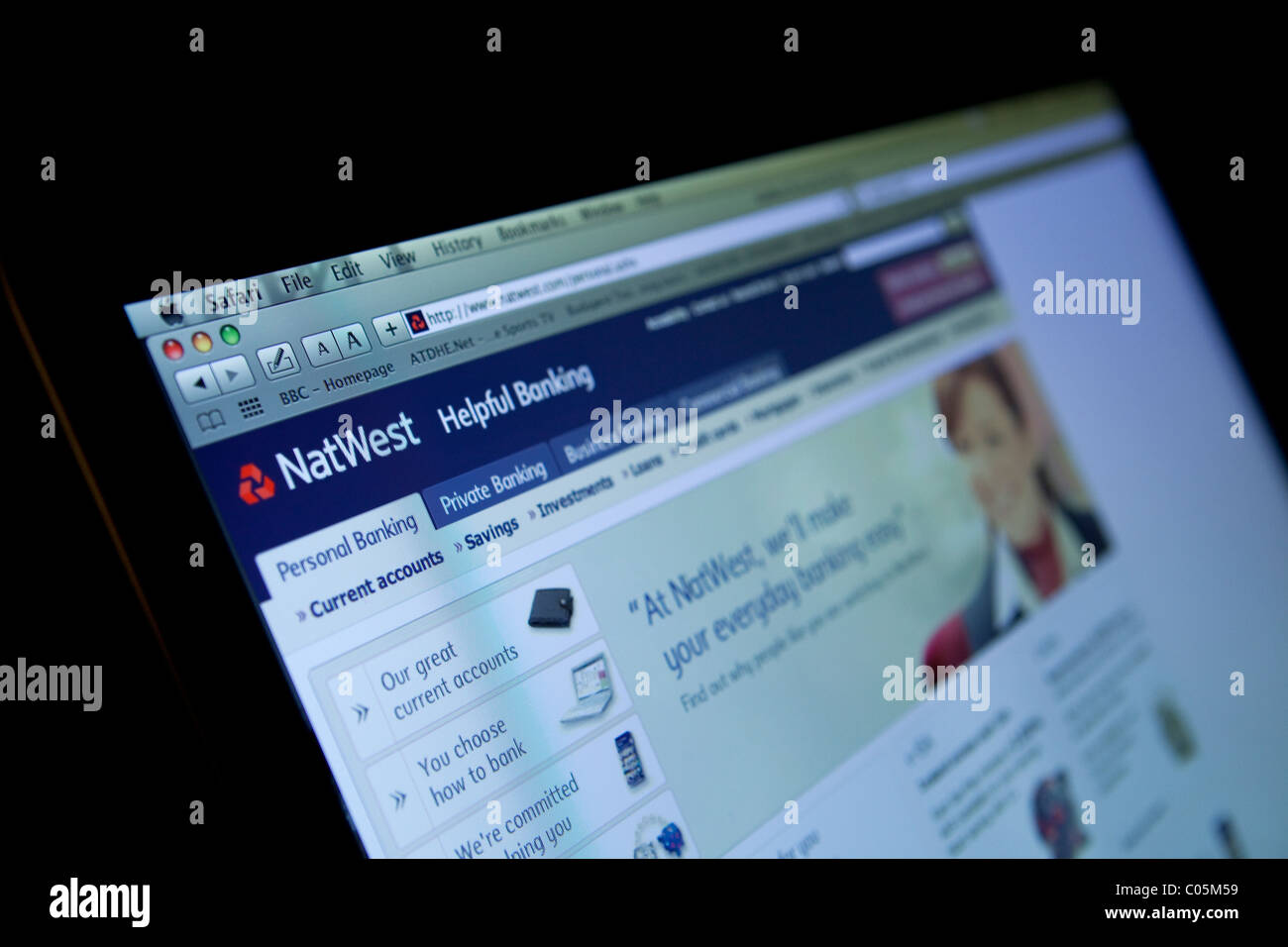 NatWest banque en ligne home page Photo Stock