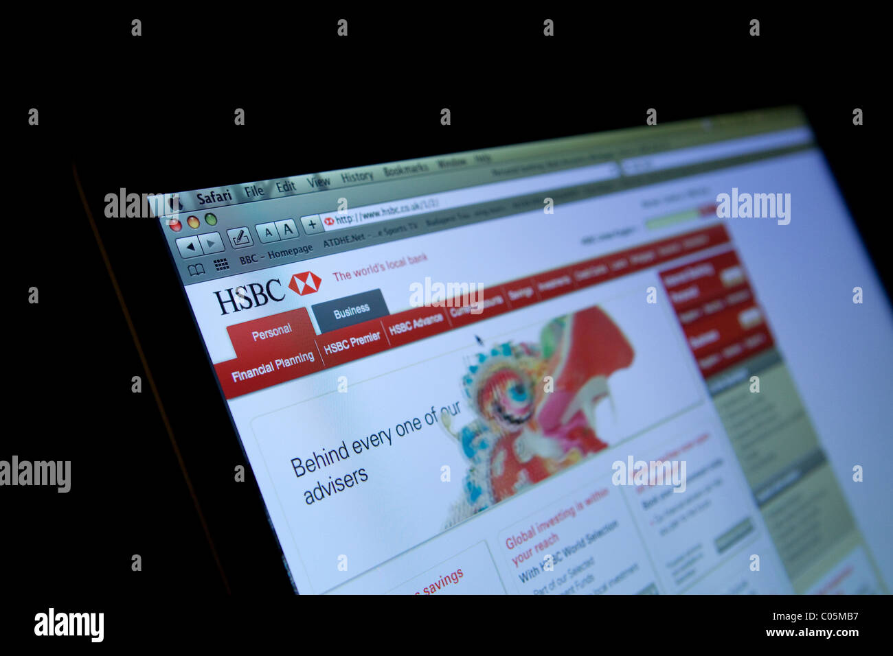 La HSBC banque en ligne home page Photo Stock