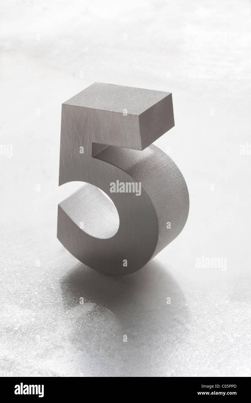 Cinq d'argent numéro 5 Photo Stock