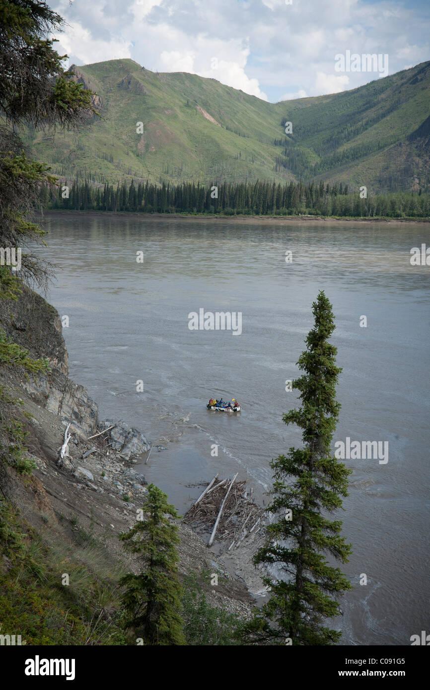 Famille le fleuve Yukon en Yukon-Charley Rivers Préserver l'intérieur de l'Alaska, l'été Photo Stock