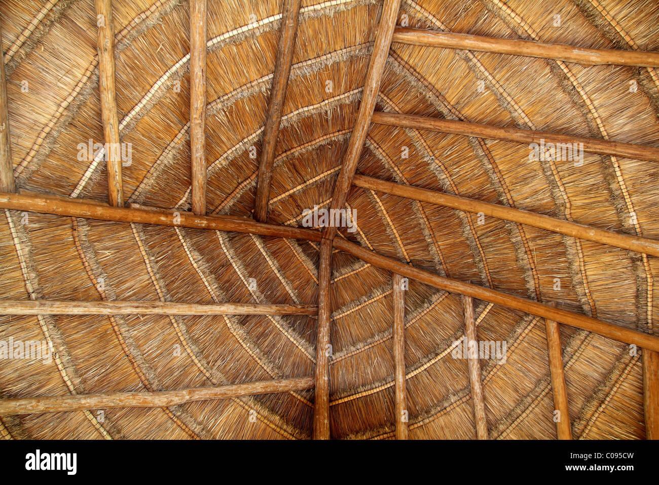 Bois tropical palapa Mexique détail piscine sur le toit de cabine Photo Stock