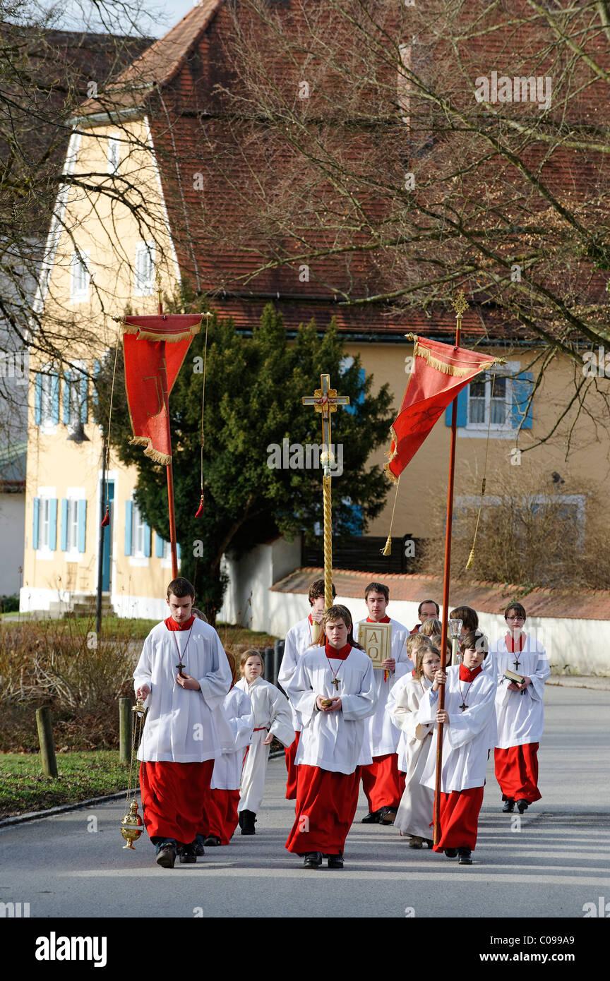 Procession des Rameaux, Bad Heilbrunn, Loisachtal, Upper Bavaria, Germany, Europe Photo Stock