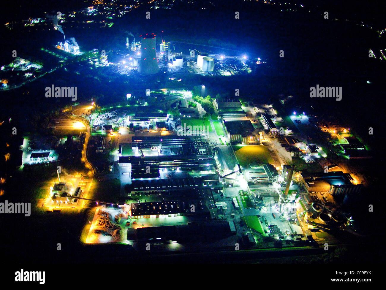 Vue aérienne, nuit, de l'industrie, Rettmann, Luenen, région de la Ruhr, Nordrhein-Westfalen, Germany, Photo Stock