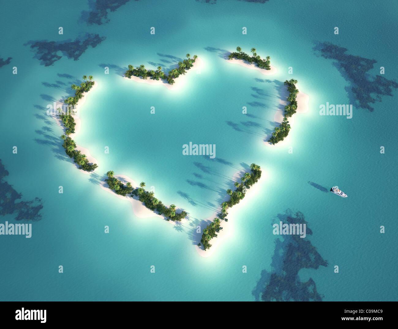 Vue aérienne de l'île en forme de coeur avec location comme concept pour des vacances romantiques Photo Stock