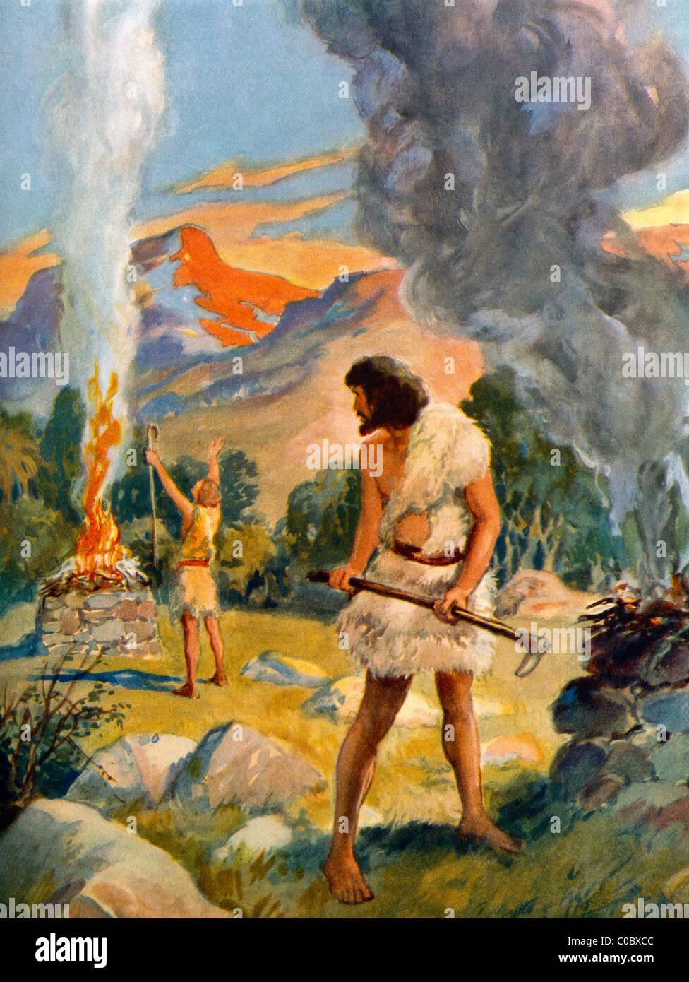 Caïn et Abel faire leurs offrandes à Dieu par Henry Peinture Coller Bible Story Banque D'Images