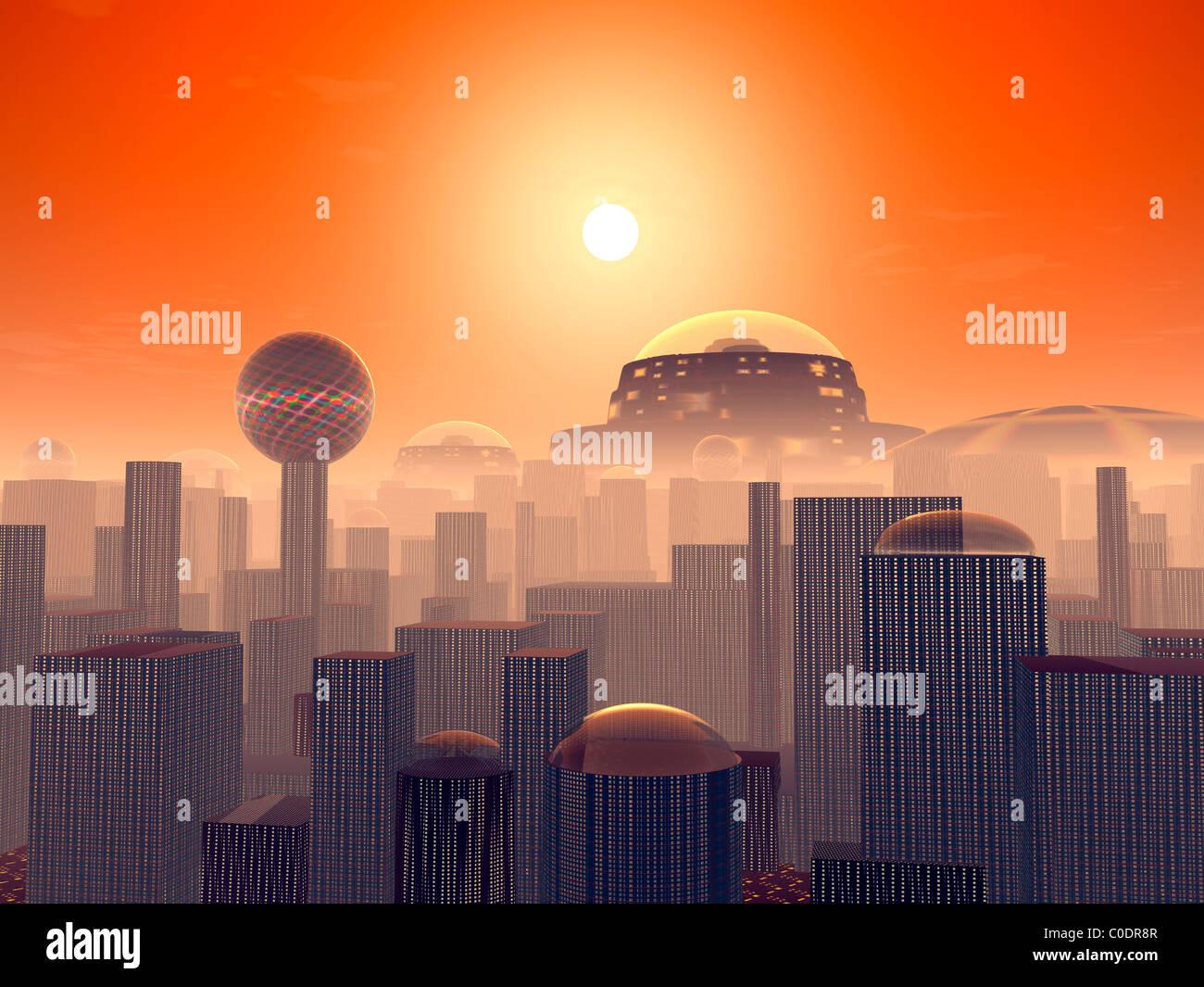 Concept de l'artiste d'une masse enterré par des couches de villes construites par les générations Photo Stock