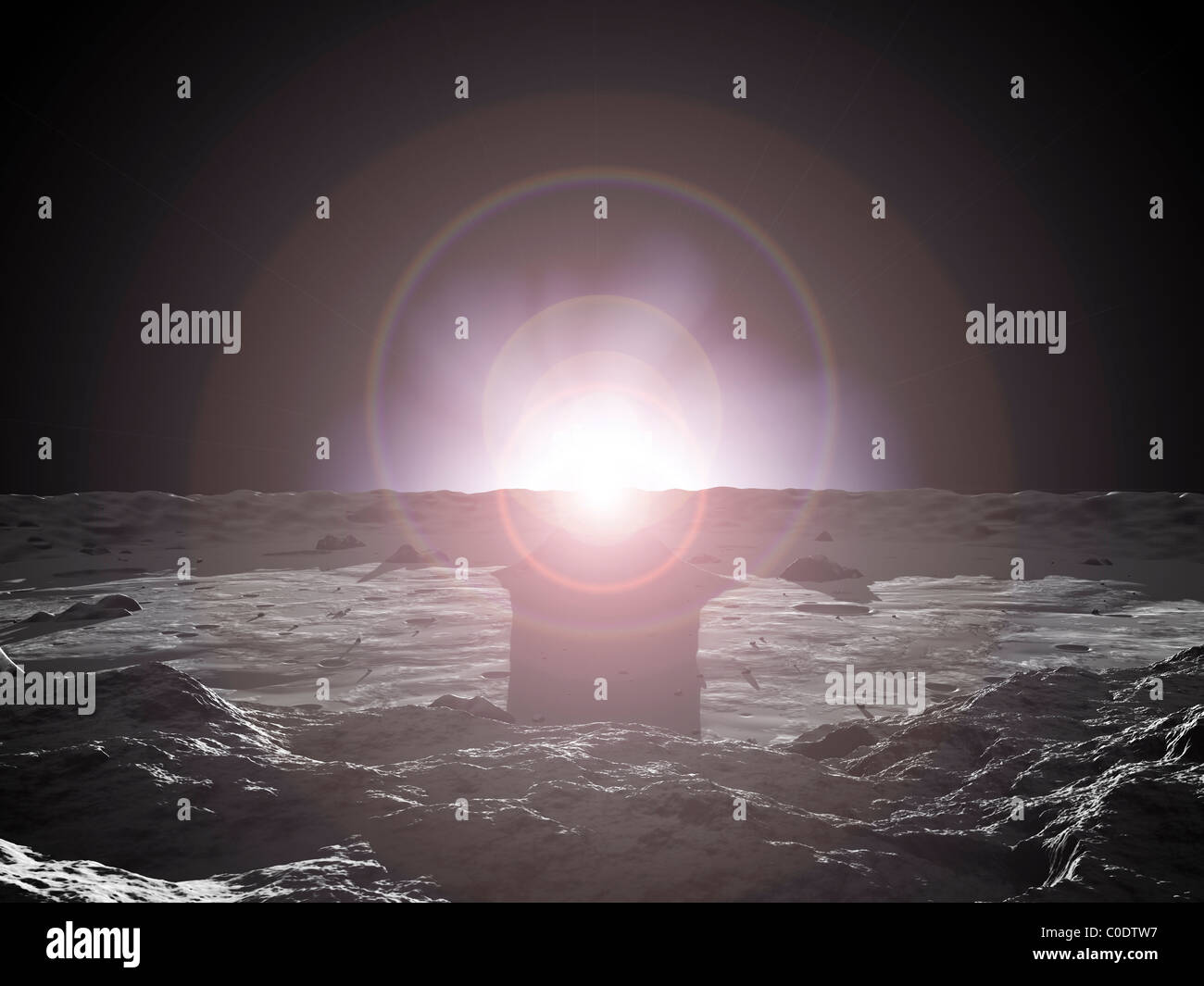 Lever du soleil sur le mercure. Photo Stock