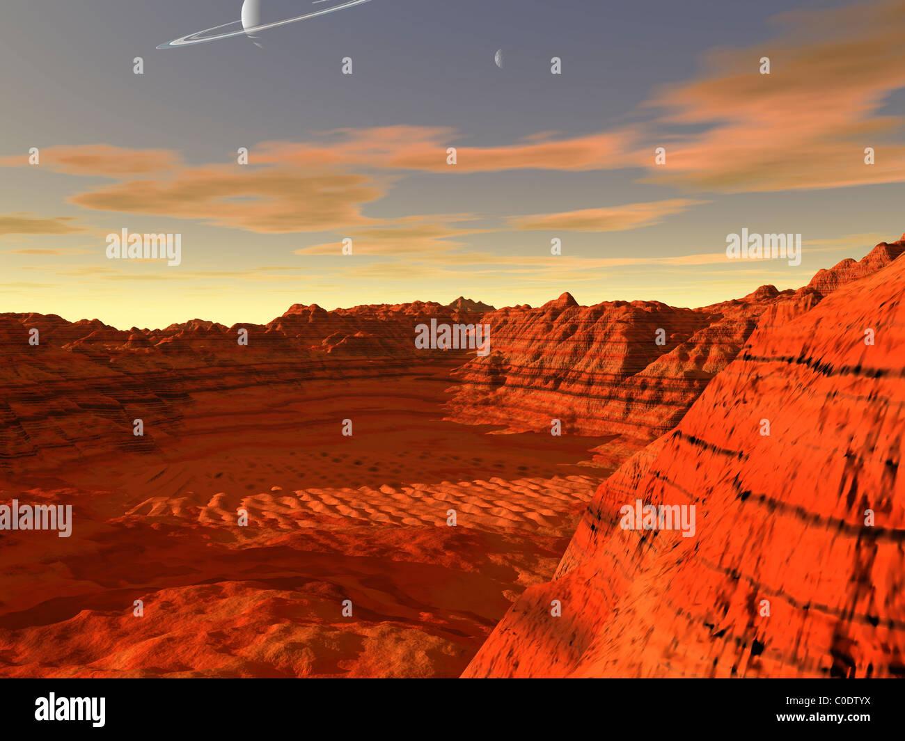 Concept de l'artiste d'une planète terre-like. Photo Stock