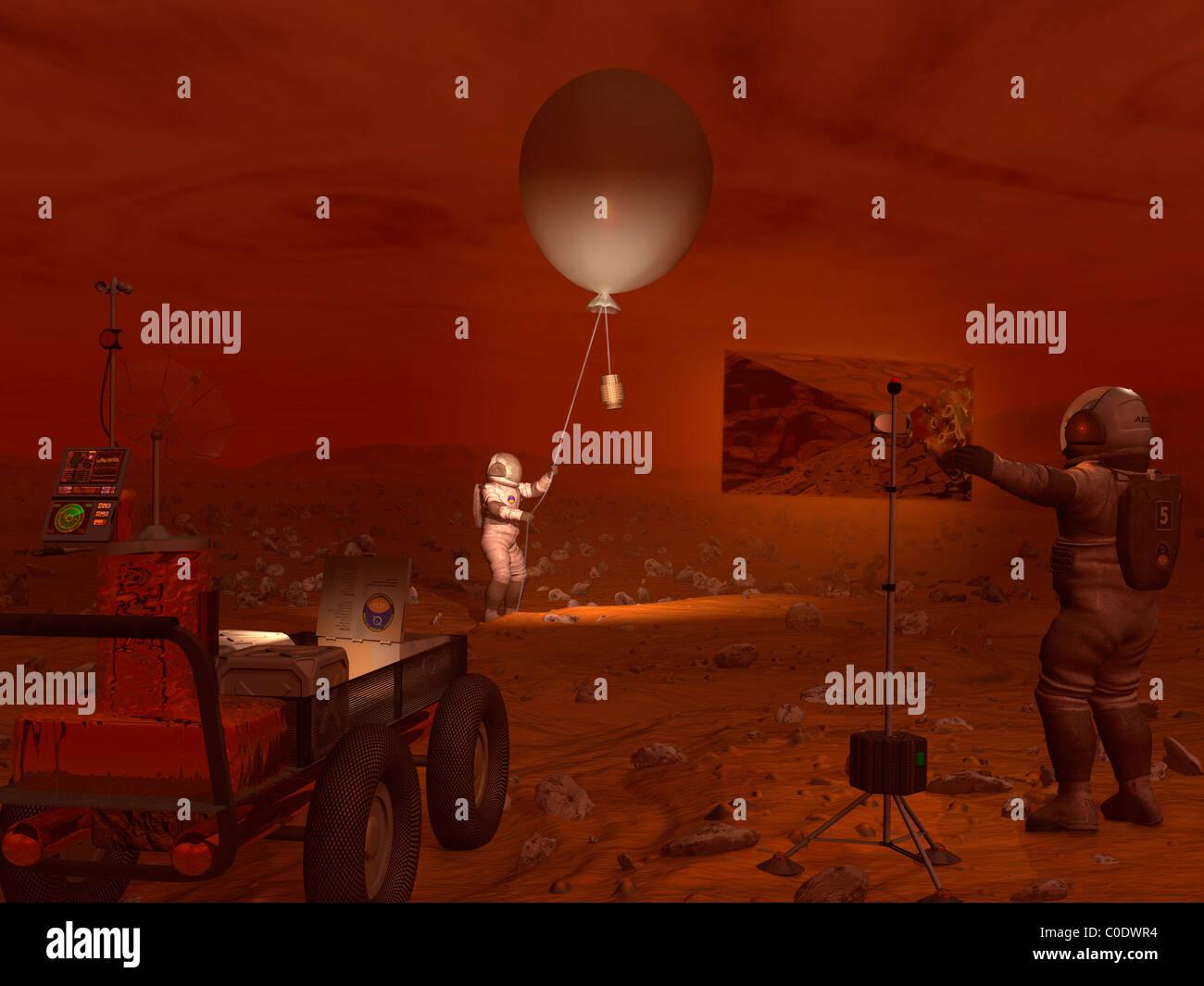Les astronautes relâcher un ballon météo sur la surface de Titan. Banque D'Images