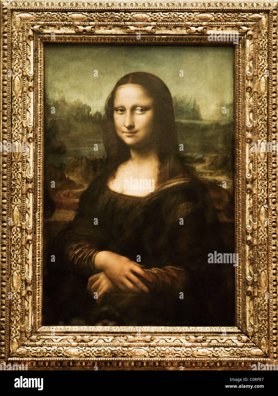 Mona Lisa peinture dans un musée, Musée du Louvre, Paris, France Photo Stock