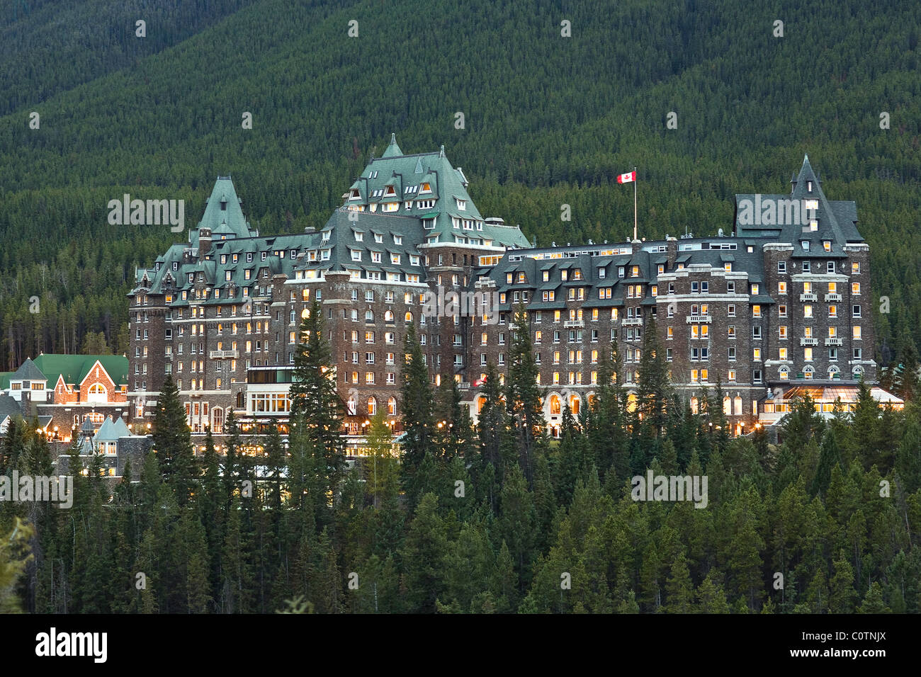 Nuit à l'hôtel Banff Springs, Banff National Park, Alberta, Canada. Photo Stock