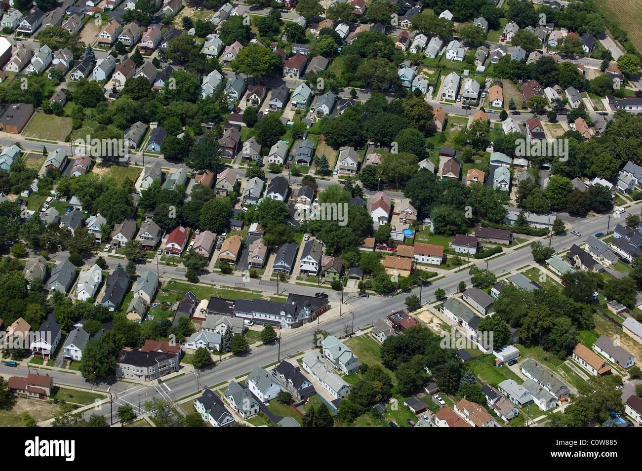 Vue aérienne au-dessus de quartier résidentiel, Cleveland Ohio Photo Stock