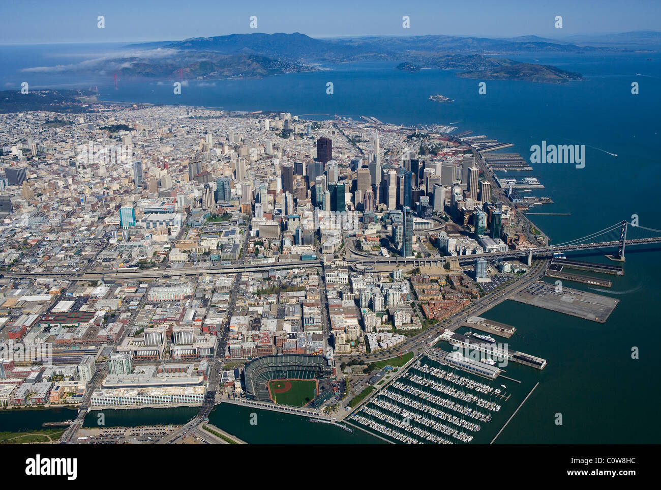Vue aérienne au-dessus de AT&T baseball park waterfront San Francisco California Photo Stock
