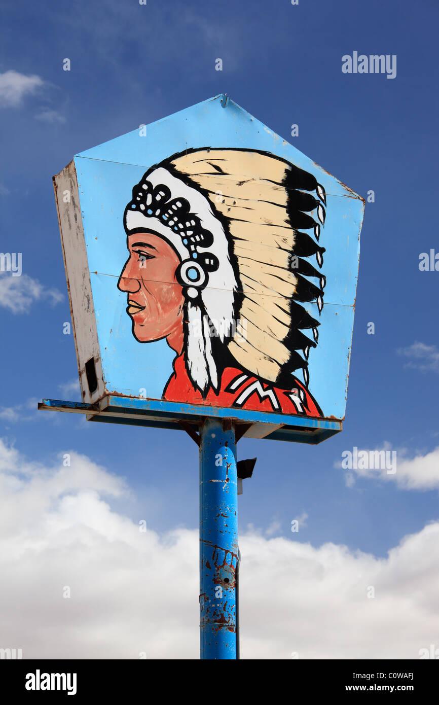 Grand chef station-signe, Zia Pueblo, New Mexico. Photo Stock