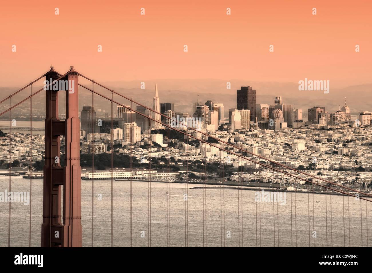 États-unis, Californie, San Francisco, Ville et Golden Gate Bridge Photo Stock