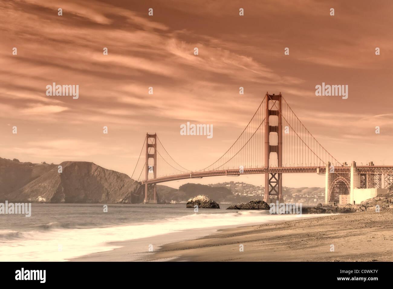 États-unis, Californie, San Francisco, Baker's Beach et Golden Gate Bridge Photo Stock