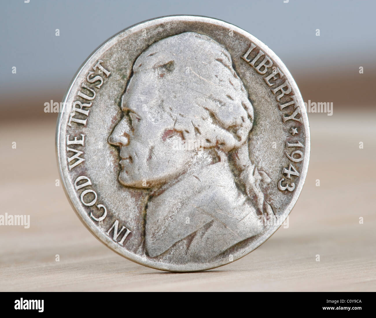 La guerre des États-Unis 1943 nickel. Ainsi appelé parce que pendant la PREMIÈRE GUERRE MONDIALE, Photo Stock