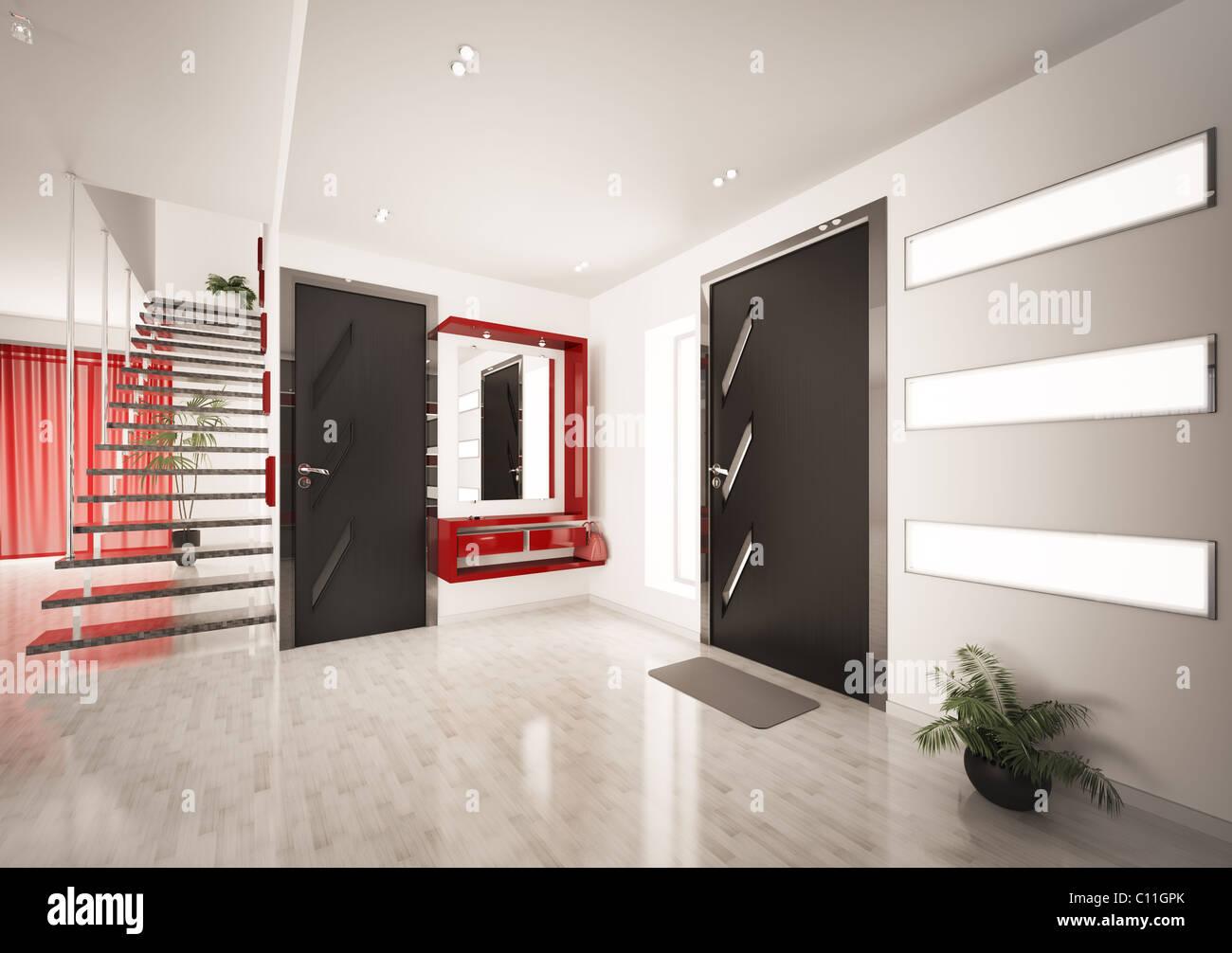 Hall D Entrée Moderne l'intérieur moderne du hall d'entrée avec escalier 3d render