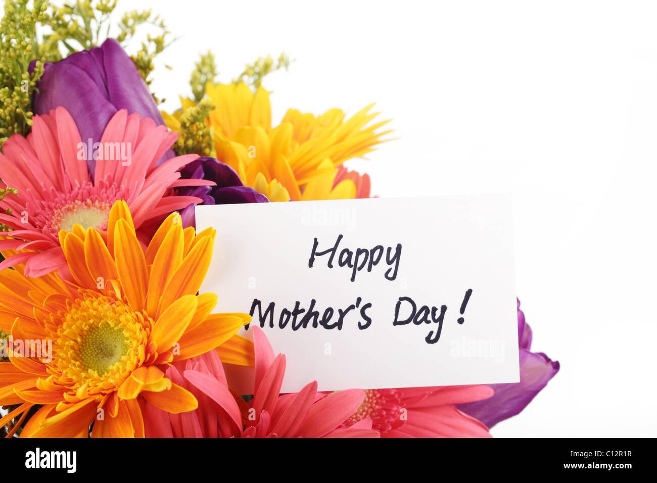 Concept de la Fête des mères-- carte postale avec des fleurs colorées. Photo Stock