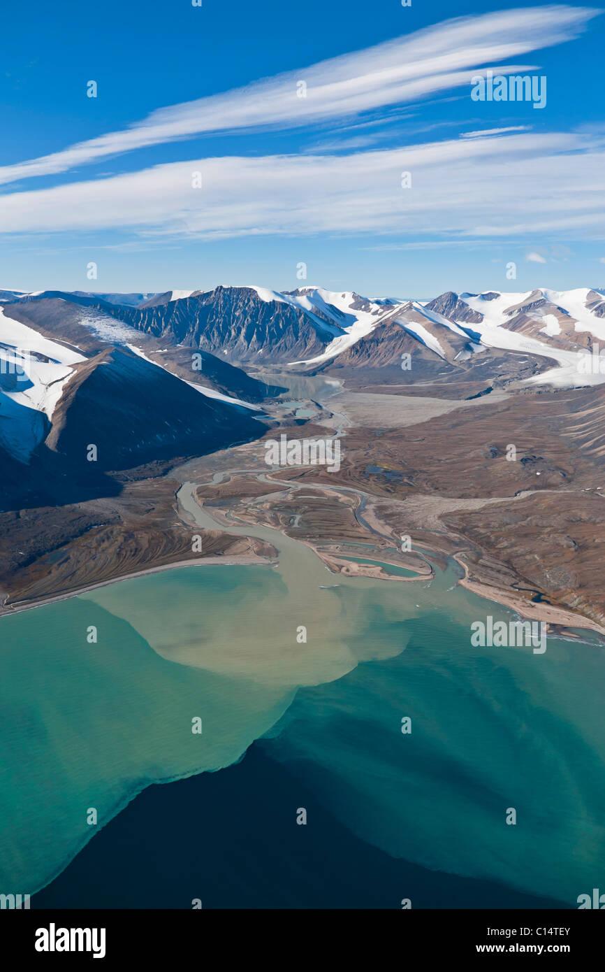 Paysage aérien de gars Bight, l'île de Baffin, Nunavut, Canada. Photo Stock