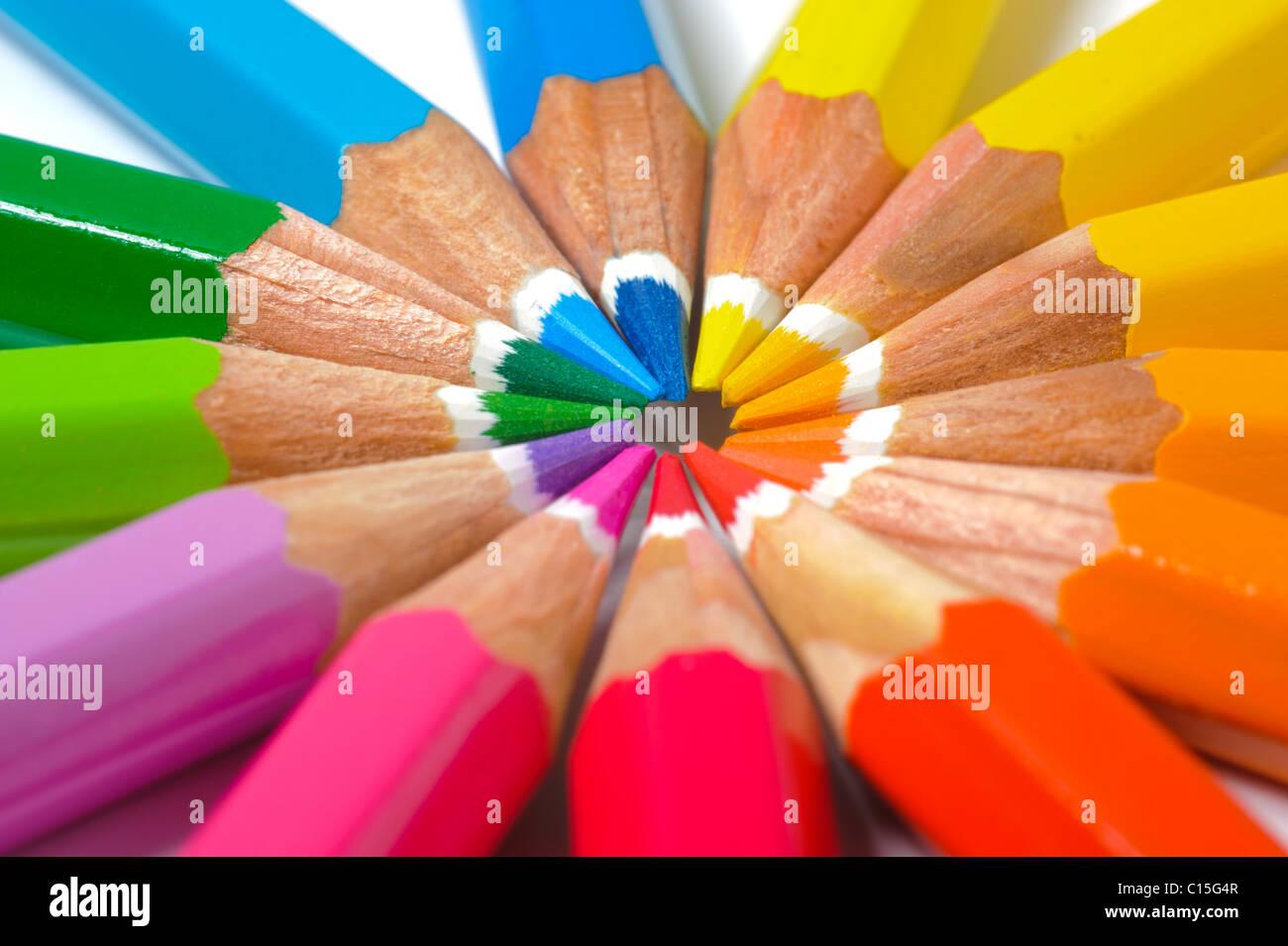 Crayon de couleur en cercle Photo Stock