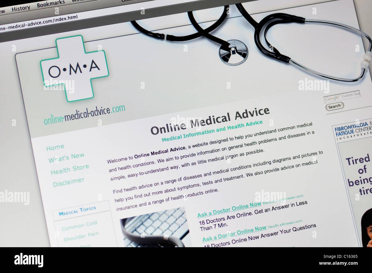 Site web de conseils médicaux en ligne Photo Stock