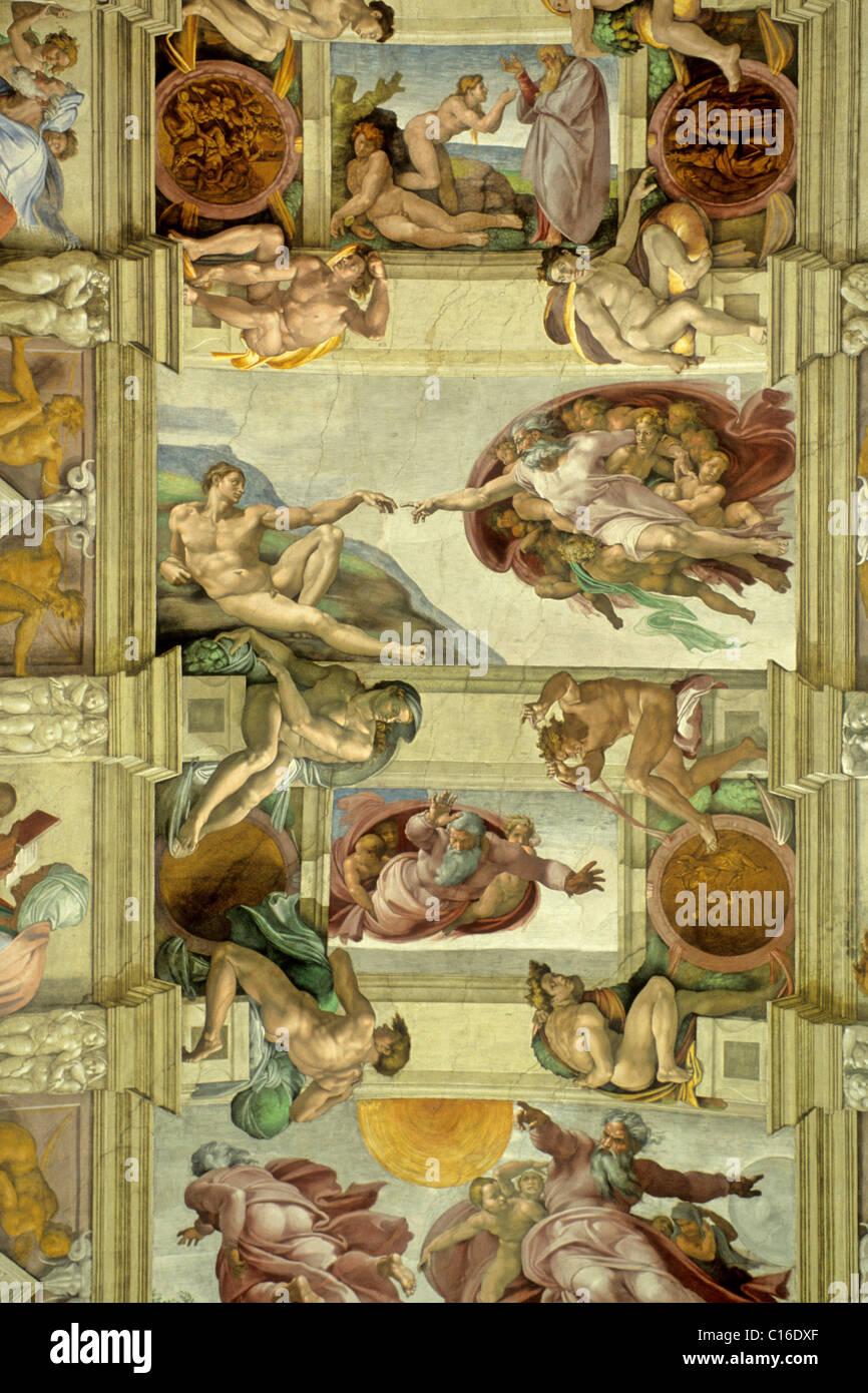 Chapelle Sixtine Fresque Au Plafond De Michelangelo Buonarotti