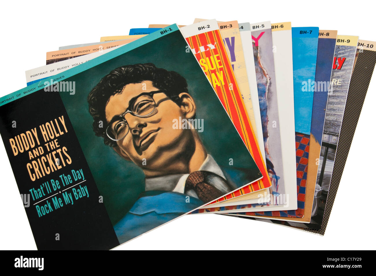 Collection de Buddy Holly vinyl records / 7' des célibataires / EP's Photo Stock